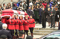 October 10, 2000 - file Photo - Montreal (Quebec) CANADA <br /> - Funeral of former Canadien Prime Minister Pierre Eliott Trudeau :Sacha (L) and Justin (R) TRudeau