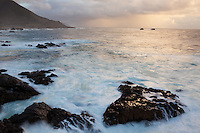 A rocky beach on the north end of the big sur coast in Monterey