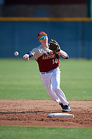 Jake Elbeery during the Under Armour All-America Pre-Season Tournament, powered by Baseball Factory, on January 19, 2019 at Sloan Park in Mesa, Arizona.  Jake Elbeery is a shortstop from North Andover, Massachusetts who attends Austin Preparatory School and is committed to University of Notre Dame.  (Mike Janes/Four Seam Images)
