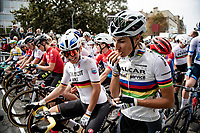 World Champion Elisa Balsamo (ITA/Valcar-Travel and Service) snacking away at the race start in Denain<br /> <br /> Inaugural Paris-Roubaix Femmes 2021 (1.WWT)<br /> One day race from Denain to Roubaix (FRA)(116.4km)<br /> <br /> ©kramon