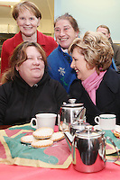 NO REPRO FEE. President McAleese has visited the Focus Ireland Coffee Shop.20/12/2010. President Mary McAleese is pictured with Sr Stanislaus Kennedy, Gloria Sommers and Josie O Rourke customers at the Focus Ireland Coffee Shop and Housing Advice Service in Temple Bar. The Centre provides meals, advice, information and support to the homeless.Picture James Horan/Collins Photos