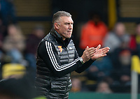 Watford manager Nigel Pearson during the Premier League match between Watford and Manchester United at Vicarage Road, Watford, England on 22 December 2019. Photo by Andy Rowland.