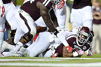 Texas A&M running back Trey Williams (3) lands in the end zone for a touchdown during second half of an NCAA football game, Saturday, October 11, 2014 in College Station, Tex. Ole Miss defeated Texas A&M 35-20. (Mo Khursheed/TFV Media via AP Images)