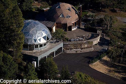 aerial photograph geodesic dome homes, Sonoma mountain, Petaluma, Sonoma county, California