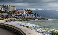 Fine Art Landscape Travel Photograph of the ocean wall on the Malecon in Puerto Vallarta Mexico.<br />