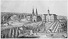 GTJS 3/02:  Engraving of campus, including the first Sacred Heart Church and Second Main Building, c1850s-1865.  Drawn by Professor F.X. Ackermann, c1890-1937..Image from the University of Notre Dame Archives.