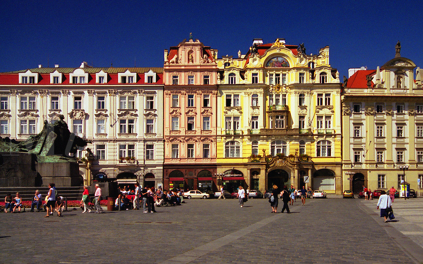 Renaissance houses lining the Old Town Square in Prague (Czech Republic).  The Huss Memorial is on the left.