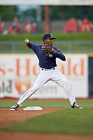 Lake County Captains second baseman Miguel Eladio (30) throws to first base during the second game of a doubleheader against the West Michigan Whitecaps on August 6, 2017 at Classic Park in Eastlake, Ohio.  West Michigan defeated Lake County 9-0.  (Mike Janes/Four Seam Images)