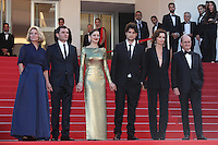 DIRECTOR NICOLE GARCIA, ALEX BRENDEMUHL, MARION COTILLARD, LOUIS GARREL, THE FRENCH MINISTER OF CULTURE AUDREY AZOULAY AND PIERRE LESCURE - RED CARPET OF THE FILM 'MAL DE PIERRES' AT THE 69TH FESTIVAL OF CANNES 2016