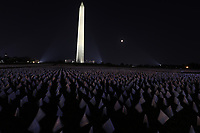 WASHINGTON, D.C. - SEPTEMBER 14: View of the In America: Remember Public Art Exhibition with over 610,000 flags honoring those who have passed away from Covid-19 at the National Mall in Washington, D.C. on September 14, 2021. Credit: mpi34/MediaPunch