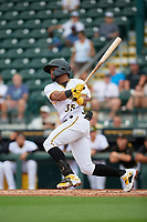 Bradenton Marauders Maikol Escotto (35) bats during Game One of the Low-A Southeast Championship Series against the Tampa Tarpons on September 21, 2021 at LECOM Park in Bradenton, Florida.  (Mike Janes/Four Seam Images)