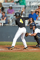 Chase Bruno (4) (Coker College) of the Statesville Owls at bat against the Mooresville Spinners at Moor Park on June 14, 2020 in Mooresville, NC.  The Owls defeated the Spinners 8-7 in 10 innings. (Brian Westerholt/Four Seam Images)