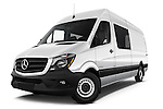 Stock pictures of low aggressive front three quarter view of 2017 Mercedes Benz Sprinter-Crew-Van 2500-170-WB-High-Roof 4 Door Combi Low Aggressive