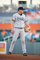 Staten Island Yankees starting pitcher Rodney Hutchison (62) looks in for the sign during a game against the Aberdeen IronBirds on August 23, 2018 at Leidos Field at Ripken Stadium in Aberdeen, Maryland.  Aberdeen defeated Staten Island 6-2.  (Mike Janes/Four Seam Images)