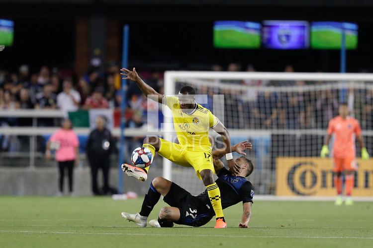 SAN JOSE, CA - AUGUST 03: Romario Williams, Guram Kashia  during a Major League Soccer (MLS) match between the San Jose Earthquakes and the Columbus Crew on August 03, 2019 at Avaya Stadium in San Jose, California.