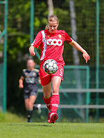 Aster Janssens (5) of Standard  with the ball during a female soccer game between Standard Femina de Liege and Oud Heverlee Leuven on the 10th and last matchday in play off 1 of the 2020 - 2021 season of Belgian Scooore Womens Super League , saturday 29 th of May 2021  in Angleur , Belgium . PHOTO SPORTPIX.BE   SPP   SEVIL OKTEM