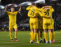 Fleetwood Town's Barrie McKay celebrates scoring his side's first goal with team <br /> <br /> Photographer David Horton/CameraSport<br /> <br /> The EFL Sky Bet League One - Portsmouth v Fleetwood Town - Tuesday 10th March 2020 - Fratton Park - Portsmouth<br /> <br /> World Copyright © 2020 CameraSport. All rights reserved. 43 Linden Ave. Countesthorpe. Leicester. England. LE8 5PG - Tel: +44 (0) 116 277 4147 - admin@camerasport.com - www.camerasport.com