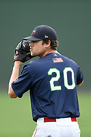 Starting pitcher Hunter Haworth (20) of the Greenville Drive warms up before a game against the Augusta GreenJackets on Wednesday, April 25, 2018, at Fluor Field at the West End in Greenville, South Carolina. Augusta won, 9-2. (Tom Priddy/Four Seam Images)