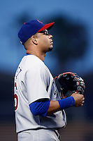 Aramis Ramirez of the Chicago Cubs during a game from the 2007 season at Dodger Stadium in Los Angeles, California. (Larry Goren/Four Seam Images)