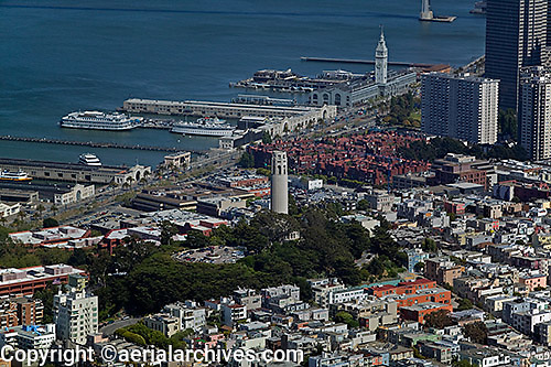 aerial photograph Coit Tower, Embarcadero, piers, Ferry Building, San Francisco, California