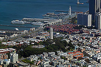 aerial photograph Coit Tower, Embarcadero, piers, Ferry Building, San Francisco, California