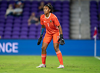 ORLANDO, FL - FEBRUARY 24: Solana Pereyra #1 of Argentina looks to the ball during a game between Argentina and USWNT at Exploria Stadium on February 24, 2021 in Orlando, Florida.