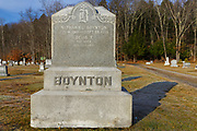 The headstone of Nathaniel Boynton (1818-1899)  at Woodstock Cemetery in Woodstock, New Hampshire during the autumn months. This cemetery is located along the Daniel Webster Highway.