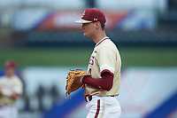Mitch Bigras (4) of the Boston College Eagles on defense against the North Carolina Tar Heels in Game Five of the 2017 ACC Baseball Championship at Louisville Slugger Field on May 25, 2017 in Louisville, Kentucky. The Tar Heels defeated the Eagles 10-0 in a game called after 7 innings by the Mercy Rule. (Brian Westerholt/Four Seam Images)