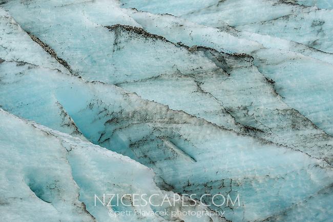 Blue ice crevasses on Fox Glacier, Westland National Park, World Heritage Area, South Westland, New Zealand