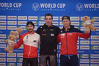 SPEEDSKATING: 24-11-2019 Tomaszów Mazowiecki (POL), ISU World Cup Arena Lodowa, 500m Men Division B, Artur Nogal (POL), Alex Boisvert-Lacroix (CAN), Håvard Holmefjord Lorentzen (NOR), ©photo Martin de Jong