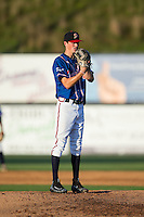 Danville Braves starting pitcher Jaret Hellinger (11) looks to his catcher for the sign against the Kingsport Mets at American Legion Post 325 Field on July 9, 2016 in Danville, Virginia.  The Mets defeated the Braves 10-8.  (Brian Westerholt/Four Seam Images)