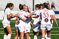 MONTCLAIR, NJ - OCTOBER 03: Meggie Dougherty Howard #8 of the Washington Spirit, Ashley Hatch #33 of the Washington Spirit, and Bayley Feist #13 of the Washington Spirit celebrate the goal by Kumi Yokoyama #17 of the Washington Spirit during a game between Washington Spirit and Sky Blue FC at MSU Soccer Park at Pittser Field on October 03, 2020 in Montclair, New Jersey.