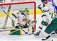 19 January 2018: University of Vermont Catamount Goaltender Stefanos Lekkas, a Sophomore from Elburn, IL, makes a third period save against the University of Massachusetts Lowell Riverhawks at Gutterson Fieldhouse in Burlington, Vermont. The Riverhawks rallied to defeat the Catamounts 3-2 in overtime of their Hockey East matchup. Mandatory Credit: Ed Wolfstein Photo *** RAW (NEF) Image File Available ***