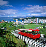 New Zealand, North Island, Wellington: Cable Car & View over City   Neuseeland, Nordinsel, Wellington: Cable Car und Blick ueber die Stadt
