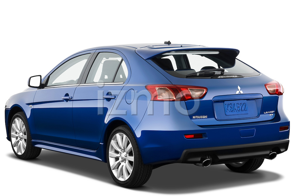 Rear 3/4 angulare view of a blue 2010 Mitsubishi Lancer Sportback GTS
