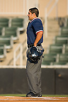 Home plate umpire Allen Alvarez prior to the start of the South Atlantic League contest between the Lake County Captains and the Kannapolis Intimidators at Fieldcrest Cannon Stadium in Kannapolis, NC, Wednesday July 2, 2008. (Photo by Brian Westerholt / Four Seam Images)