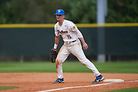 Pitt Panthers first baseman Bryce Hulett (15) during the teams opening game of the season against the Indiana State Sycamores on February 19, 2021 at North Charlotte Regional Park in Port Charlotte, Florida.  (Mike Janes/Four Seam Images)