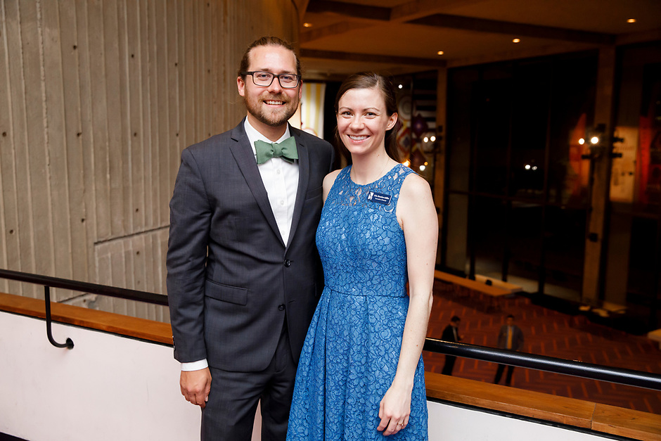 Andy Miller and Erin Brooker-Miller pose for a photo at a reception following the awards ceremony of the 11th USA International Harp Competition at Indiana University in Bloomington, Indiana on Saturday, July 13, 2019. (Photo by James Brosher)