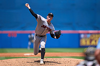 Jupiter Hammerheads pitcher Sean Reynolds (25) delivers a pitch making his mound debut during a game against the St. Lucie Mets on May 5, 2021 at Clover Park in St. Lucie, Florida.  (Mike Janes/Four Seam Images)