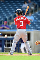 Frisco Rough Riders outfielder Jake Smolinski (3) at bat during the first game of a doubleheader against the Tulsa Drillers on May 29, 2014 at ONEOK Field in Tulsa, Oklahoma.  Frisco defeated Tulsa 13-4.  (Mike Janes/Four Seam Images)