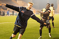 James Barrigan, Marine AFC celebrates Marine's giankilling victory over Colchester during Colchester United vs Marine, Emirates FA Cup Football at the JobServe Community Stadium on 7th November 2020