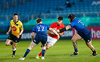 23th April 2021; RDS Arena, Dublin, Leinster, Ireland; Rainbow Cup Rugby, Leinster versus Munster; Conor Murray of Munster is tackles by Andrew Porter and Ciarán Frawley of Leinster