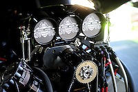 Sept. 23, 2011; Ennis, TX, USA: Detailed view of the engine in the car of NHRA funny car driver Alexis DeJoria during qualifying for the Fall Nationals at the Texas Motorplex. Mandatory Credit: Mark J. Rebilas-