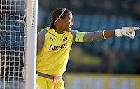 Karina LeBlanc shouts instructions to teammates. LA Sol and FC Gold Pride tied 0-0 at Buck Shaw Stadium in Santa Clara, California on July 23, 2009.