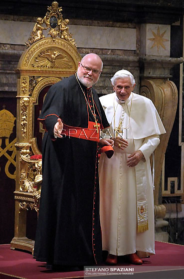 Pope Beneditct XVI cardinal archbishop of Munich and Freising Reinhard Marx  on the occasion of Pontiff's 85th birthday celebrations in the Clementine hall at the Vatican on April 16, 2012. Pope Benedict XVI celebrated his 85th birthday Monday with visitors from his native state of Bavaria in Germany and is now the oldest pope since Leo XIII, who died in 1903 aged 93.