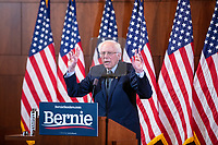 """Democratic presidential candidate and Vermont senator Bernie Sanders delivers his response to President Donald Trump's State of the Union address earlier that night at The Currier Museum of Art in Manchester, New Hampshire, on Tue., Feb. 4, 2020. Sanders' speech began, """"Tonight, we just listened to Donald Trump's third, and what I believe will be his very last, State of the Union Address."""""""