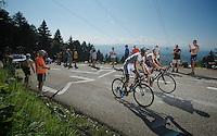 Tom Dumoulin (NLD) & Bart De Clercq (BEL) climb side by side up to Annecy-Semnoz<br /> <br /> Tour de France 2013<br /> stage 20: Annecy to Annecy-Semnoz<br /> 125km