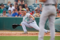 Daytona Tortugas first baseman Bruce Yari (44) reaches out to receive a throw during a game against the Florida Fire Frogs on April 7, 2018 at Osceola County Stadium in Kissimmee, Florida.  Daytona defeated Florida 4-3 in a six inning rain shortened game.  (Mike Janes/Four Seam Images)