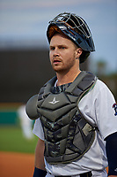 Pensacola Blue Wahoos catcher Ryan Jeffers (8) before a Southern League game against the Mobile BayBears on July 25, 2019 at Blue Wahoos Stadium in Pensacola, Florida.  Pensacola defeated Mobile 3-2 in the second game of a doubleheader.  (Mike Janes/Four Seam Images)