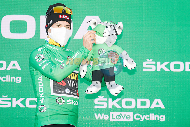 Race leader Primoz Poglic (SLO) Team Jumbo-Visma also retains the points Green Jersey at the end of Stage 13 of the Vuelta Espana 2020 an individual time trial running 33.7km from Muros to Mirador de Ézaro. Dumbría, Spain. 3rd November 2020. <br /> Picture: Luis Angel Gomez/PhotoSportGomez | Cyclefile<br /> <br /> All photos usage must carry mandatory copyright credit (© Cyclefile | Luis Angel Gomez/PhotoSportGomez)